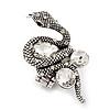 Stunning Clear Swarovski Crystal Snake Stretch Ring In Burn Silver Metal (6cm Length) - 7/9 Size