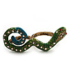 Green Enamel Crystal 'Snake' Double Finger Ring In Antique Gold Metal - Size 7/8