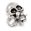 Vintage 'Skull & Flower' Ring In Burn Silver Metal (Adjustable Size 7/9) - 3cm Length