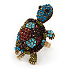 Large Multicoloured Crystal Turtle Ring In Burn Gold Metal - Adjustable - 5cm Length