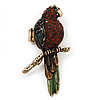 Exotic Amber/Green Crystal &#039;Parrot&#039; Flex Ring In Burn Gold Metal - 7.5cm Length (Size 7/8)