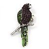 Exotic Purple/Green Crystal 'Parrot' Flex Ring In Burnt Silver Plating - 7.5cm Length (Size 7/8)