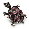 Purple Crystal 'Turtle' Flex Ring In Burn Silver Metal - 5.5cm Length - (Size 7/9)