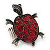 Ruby Red Coloured Crystal 'Turtle' Flex Ring In Burn Silver Metal - 5.5cm Length - (Size 7/9)