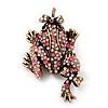 Pink Swarovski Crystal 'Frog & Dragonfly' Flex Ring In Burnt Gold Plating - 7cm Length (Size 7/8)
