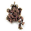 Purple Swarovski Crystal &#039;Frog &amp; Dragonfly&#039; Flex Ring In Burn Gold Metal - 7cm Length (Size 7/8)
