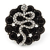 Crystal 'Snake' On Black 'Flower' Ring In Silver Finish - Adjustable - 3.3cm Diameter
