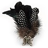 Oversized Black/White Feather 'Butterfly' Stretch Ring In Silver Plating - Adjustable - 14cm Length