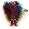 Oversized Multicoloured Feather 'Butterfly' Stretch Ring In Gold Plating - Adjustable - 9cm Length