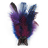 Oversized Purple/Violet/Magenta Feather 'Butterfly' Stretch Ring In Black Metal - Adjustable - 12cm Length