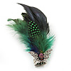 Oversized Green/Blue Feather 'Skull & Wings' Stretch Ring In Silver Plating - Adjustable - 14cm Length