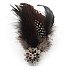 Oversized Black/White Feather 'Owl' Stretch Ring In Gold Plating - Adjustable - 13cm Length