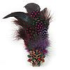Oversized Multicoloured Feather &#039;Owl&#039; Stretch Ring In Gold Plating - Adjustable - 13cm Length