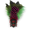 Oversized Green/Magenta/Red Feather &#039;Skull&#039; Stretch Ring In Silver Plating - Adjustable - 12cm Length