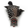 Oversized Black/White/Red Feather &#039;Skull&#039; Stretch Ring In Silver Plating - Adjustable - 13cm Length