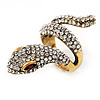 Clear Crystal &#039;Snake&#039; Ring In Antique Gold Finish - 4.5cm Length