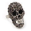 Dazzling Black Crystal Skull Ring In Rhodium Plated Metal - Adjustable - 3cm Length