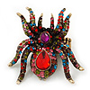 Oversized Multicoloured Swarovski Crystal Spider Stretch Cocktail Ring In Antique Gold Plating - 6cm Length