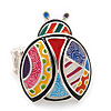 Multicoloured Enamel 'Lady Bug' Stretch Ring In Rhodium Plated Metal - Adjustable
