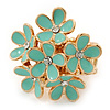 Gold Plated &#039;Damsel Daisies&#039; Crystal Set Enamelled Stretch Ring (Pastel Green) -  Adjustable size 7/8