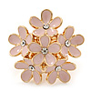 Gold Plated &#039;Damsel Daisies&#039; Crystal Set Enamelled Stretch Ring (Pastel Pink) -  Adjustable size 7/8