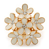 Gold Plated 'Damsel Daisies' Crystal Set Enamelled Stretch Ring (Ivory) -  Adjustable size 7/8