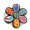 Multicoloured Enamel 'Flower Power' Stretch Ring In Rhodium Plated Metal