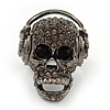 Dark Grey Crystal &#039;Skull Wearing Headphones&#039; Flex Ring In Gun Metal - Adjustable - 3cm Length