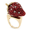 'Berry Irresistible' Crystal and Resin Strawberry Ring In Gold Plating - Size 8