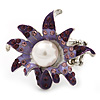 Lavender/ Deep Purple Enamel, Crystal, Simulated Pearl Calla Lily Flex Ring In Rhodium Plating - Size 7/8