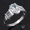 Rhodium Plated Oval Cut CZ Crystal 'Isis' Solitaire Ring - 10mm length