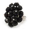 Black Glass Cluster Ring In Silver Plating - Adjustable (Size 8/9)