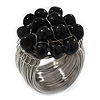 Wide Rhodium Plated Wire Black Glass Bead Band Ring