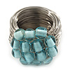 Wide Rhodium Plated Wire Light Blue Glass Bead Band Ring