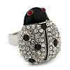 Rhodium Plated Swarovski Crystal and Enamel &#039;Catarina&#039; Lady Bug Ring (Adjustable) - Size7/8