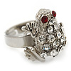 Clear Swarovski Crystal 'Frog' Rhodium Plated Ring -  (Expandable. Size 7/8)