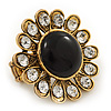 &#039;Diva Blossom&#039; Crystal and Ceramic Flower Ring (Gold Tone) - Adjustable size 7/8