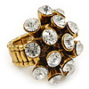 &#039;Space Jam&#039; Dome-Shaped Crystal Cluster Ring (Gold Tone) - Adjustable size 7/8