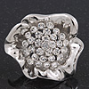 Large Swarovski Clear 'Flower' Cocktail Ring In Rhodium Plating - Adjustable (Size 7/9) - 5cm Diameter