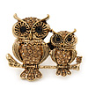 Burn Gold Light Amber Crystal &#039;Double Owl&#039; Double Finger Ring - Adjustbable - 4.5cm Length