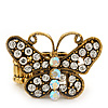 &#039;Papillonne&#039; Swarovski Encrusted Butterfly Cocktail Stretch Ring In Burn Gold Finish (Clear Crystals) - Adjustable size 7/8