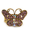 'Papillonne' Swarovski Encrusted Butterfly Cocktail Stretch Ring In Burn Gold Finish (Lilac Crystals) - Adjustable size 7/8