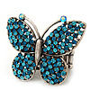 'Flutter-By' Swarovski Encrusted Butterfly Cocktail Stretch Ring - Rhodium Plated (Blue Crystals) - Adjustable size 7/8