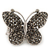 'Flutter-By' Swarovski Encrusted Butterfly Cocktail Stretch Ring - Rhodium Plated (Grey Crystals) - Adjustable size 7/8