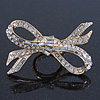 Statement Clear Austrian Crystal Bow Flex Ring In Gold Tone - 65mm Across - Size7/8