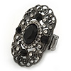 Large Victorian Filigree Black Glass Crystal Oval Ring In Gun Metal Finish - Flex - 45mm Across - Size 7/8