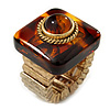 Square Resin 'Animal Print' Flex Ring In Burn Gold Metal - 25mm Across - Size 7/9