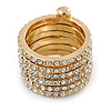 Gold Plated Clear Crystal Stacking/ Stackable Band Ring