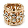 Wide Clear Swarovski Crystal Flex Band Ring In Gold Tone Metal Finish - 20mm Width - Size 7/8