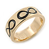 Gold Plated Black Enamel 'Infinity' Band Ring - Size 7